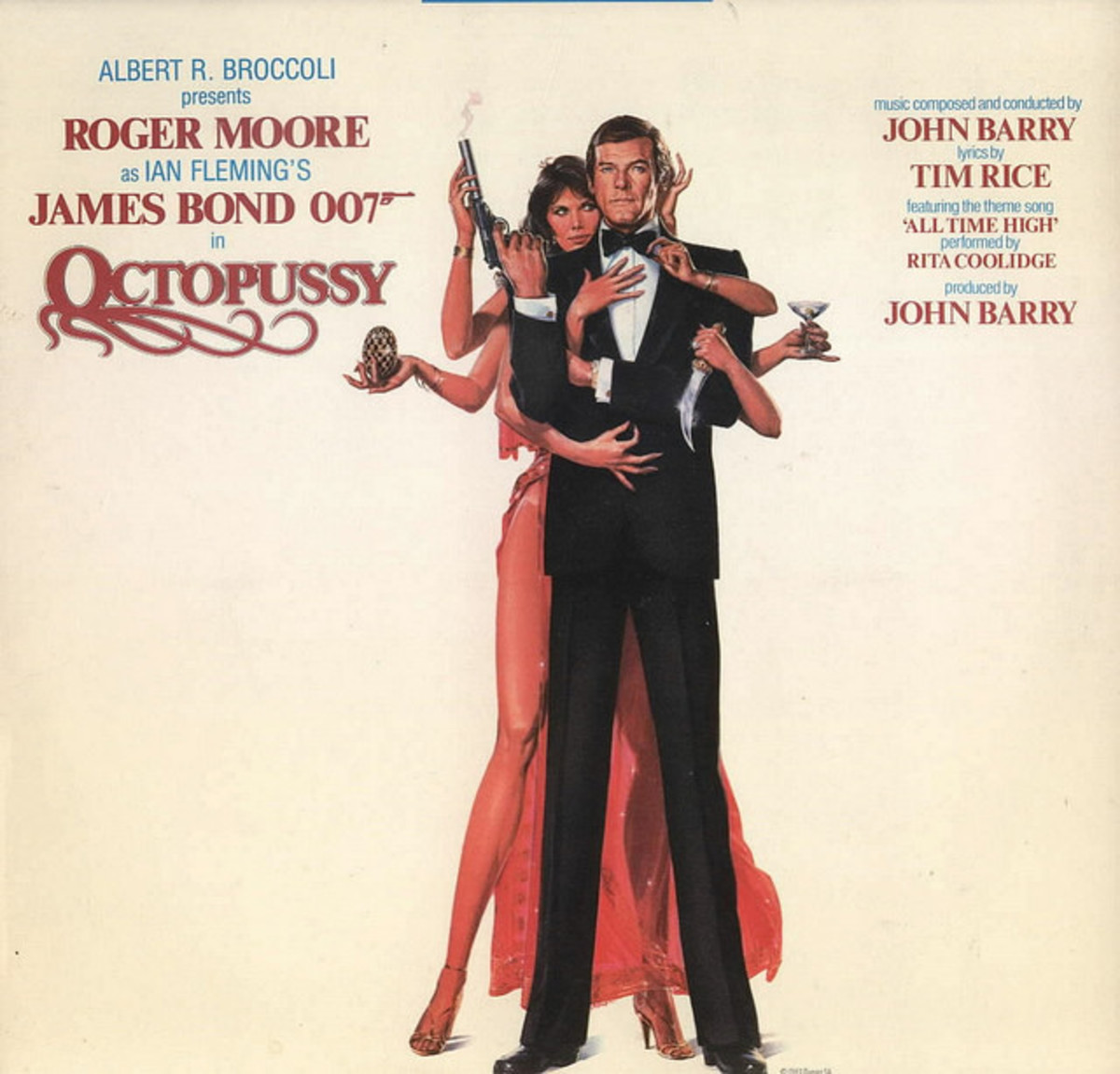 "Ian Flemings' James Bond 007 ""Octopussy"" A&M Records SP 04967 12"" LP Vinyl Record Roger Moore - John Barry Soundtrack"