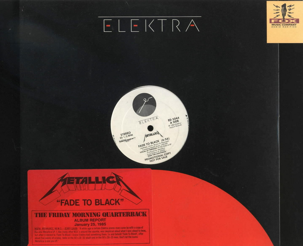 "Metallica ""Fade To Black"" Elecktra Records ED 5044 12"" Vinyl Single (1985) White Label Promo"
