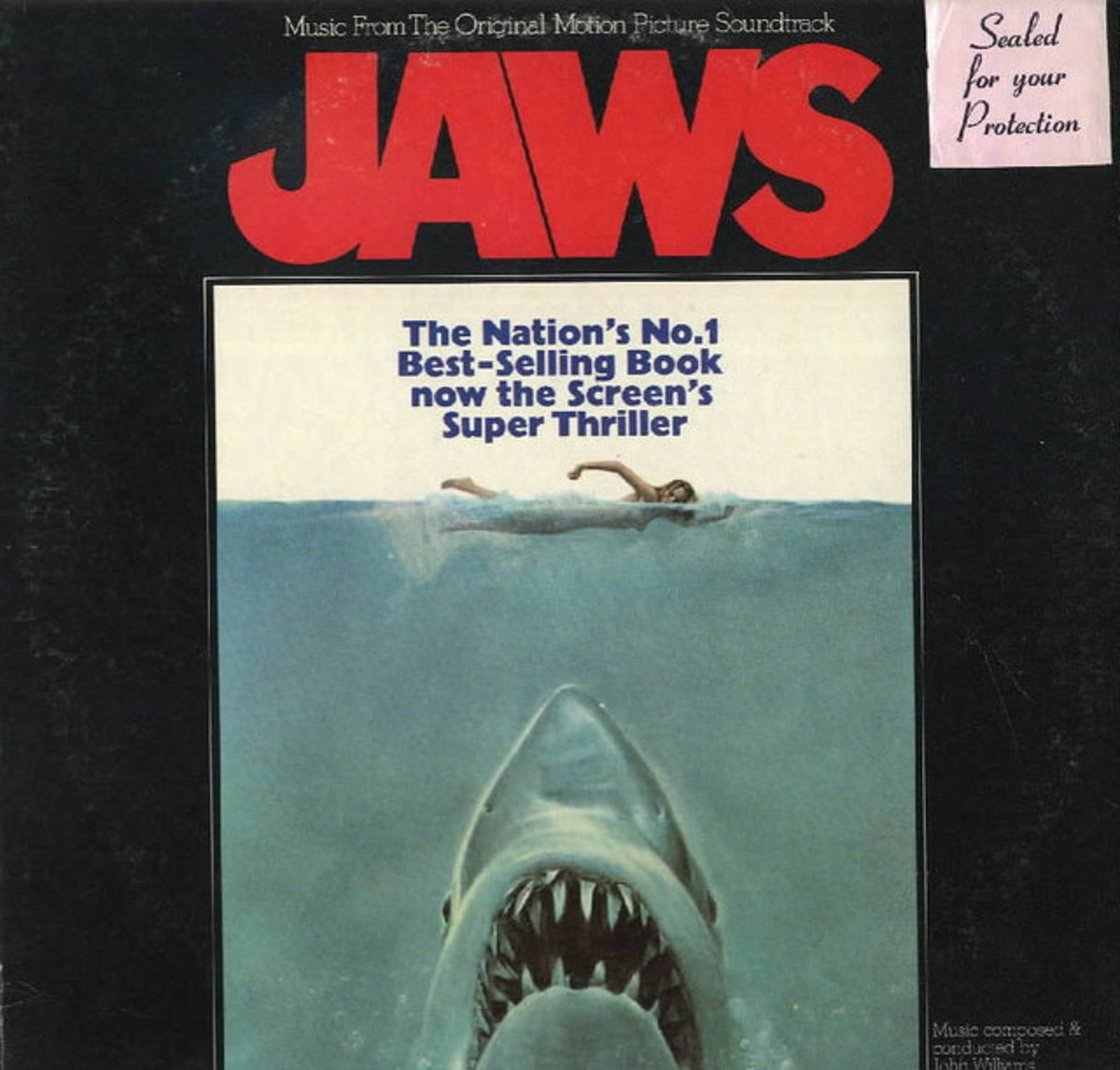 "JAWS MCA Records Original Motion Picture Recording 12"" LP Vinyl Record"