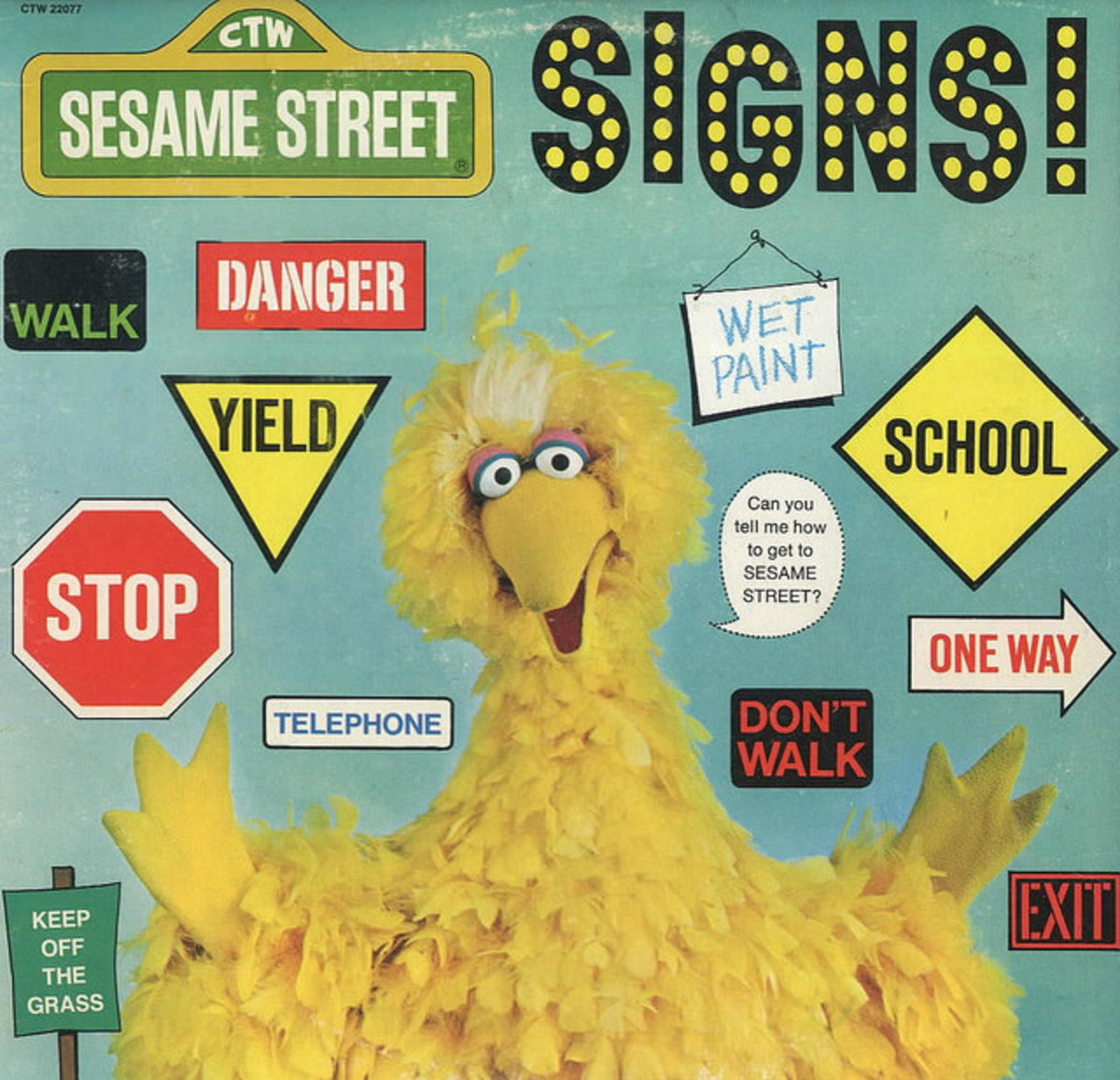 "Sesame Street ""Signs"" Childrens Television Workshop CTW 22077 12"" LP Vinyl Record (1977) Jim Henson"