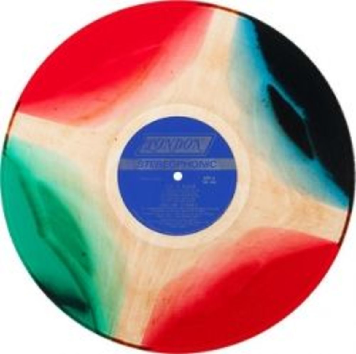 """Rolling Stones """"Let It Bleed"""" London Records NPS-4 Vintage Swirled Marble Red White and Blue Vinyl Record"""