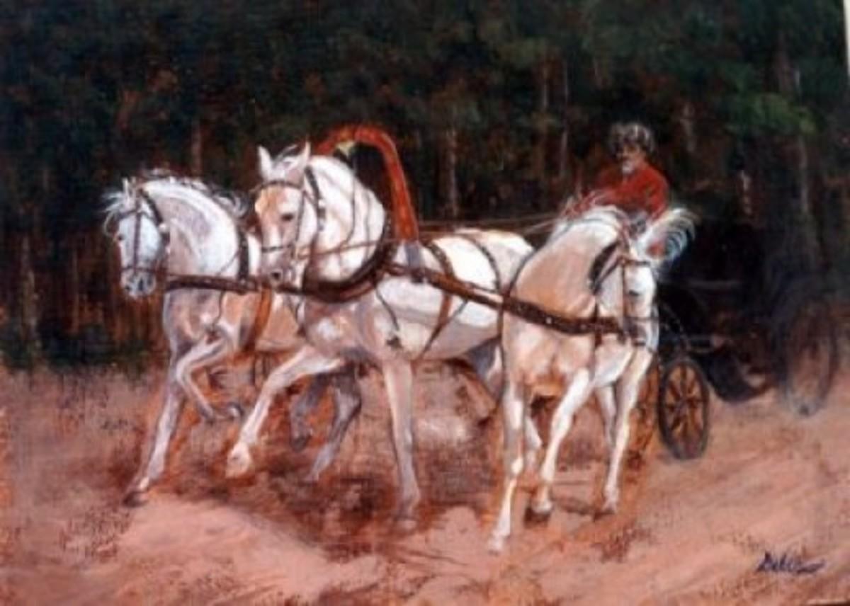 Spring driving Troika, white horses