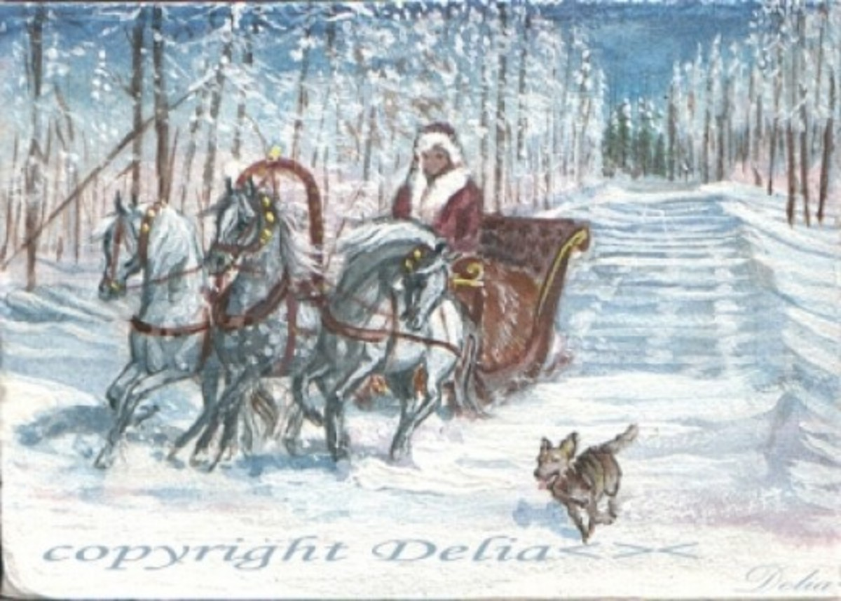 """Troika Winter Time"" ACEO miniatures. Framed 4"" x 7"" acrylic on mat-board, sold on eBay."