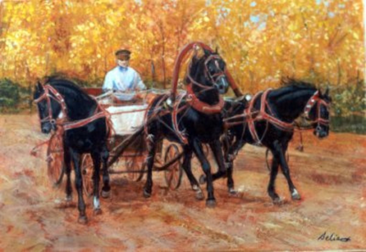 Fall driving Troika, black horses