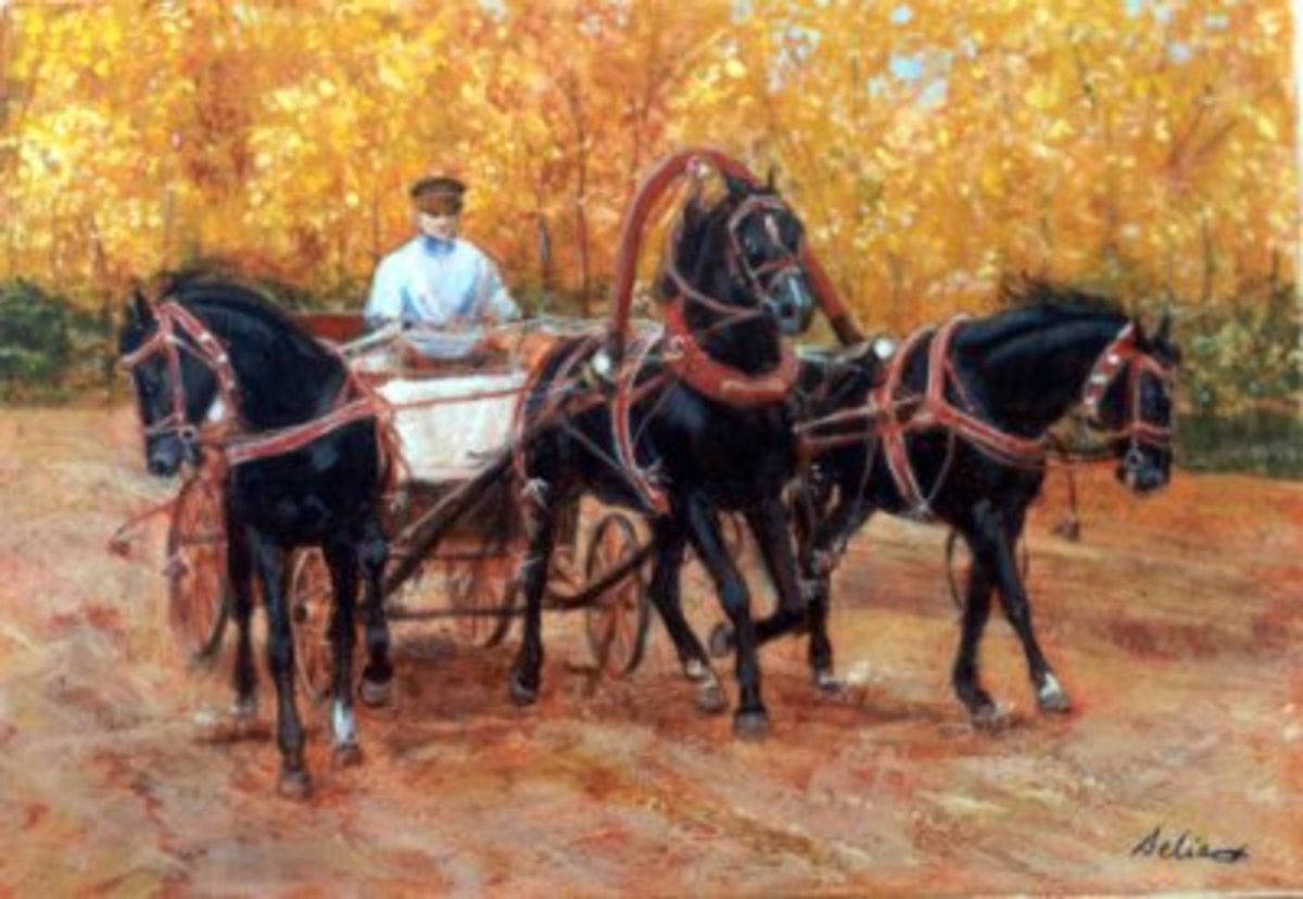 Fall driving Troika, black horses