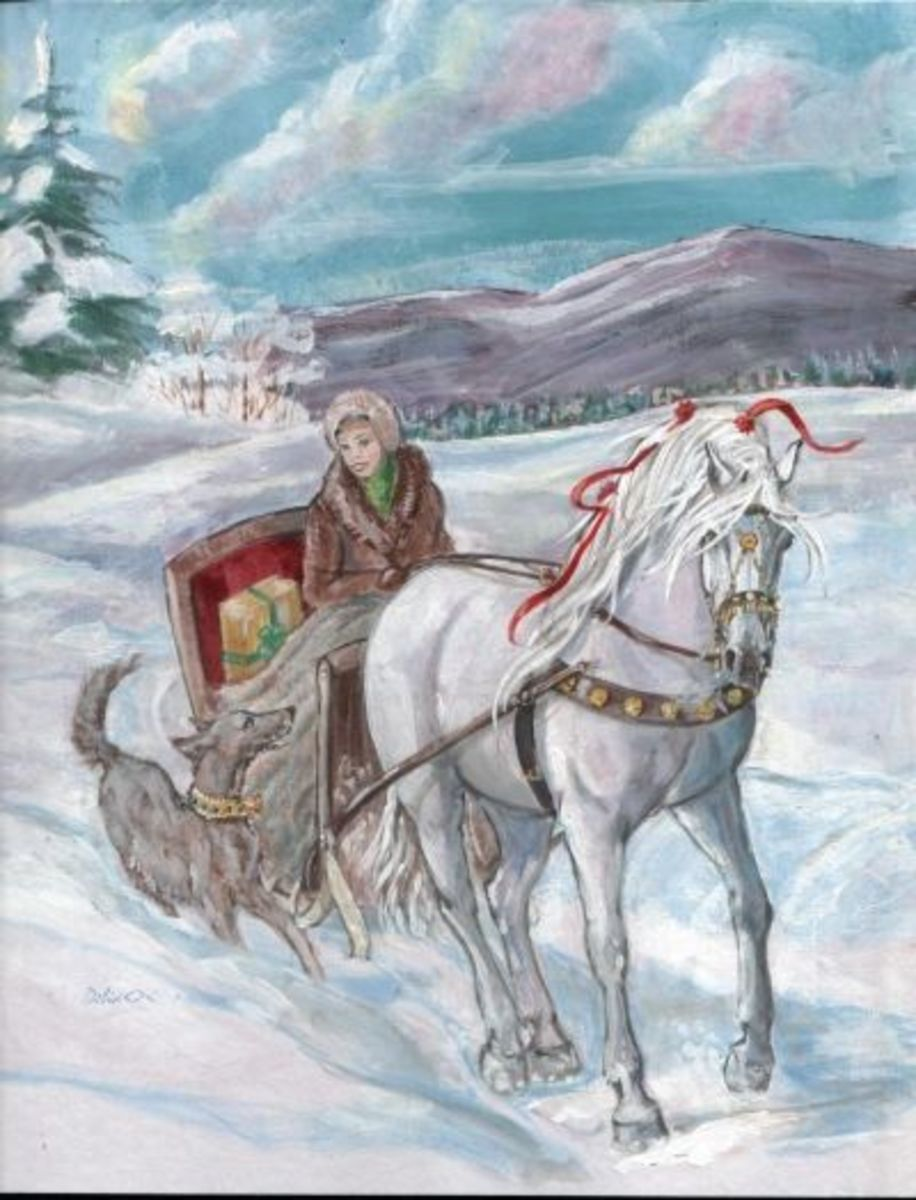 Winter sleigh scene Card - Andalusian