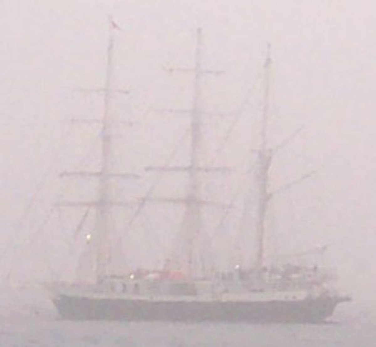 Ship at sea in a calima - looks like a ghost ship
