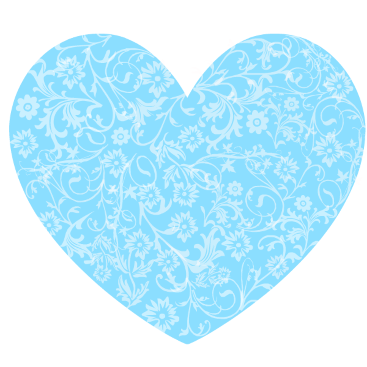 Light blue floral heart clipart