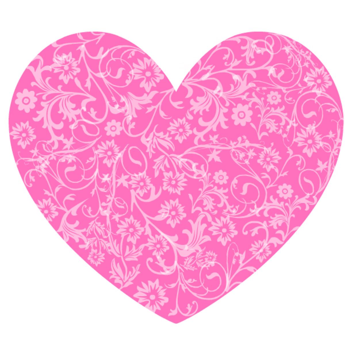 Pink floral heart clip art