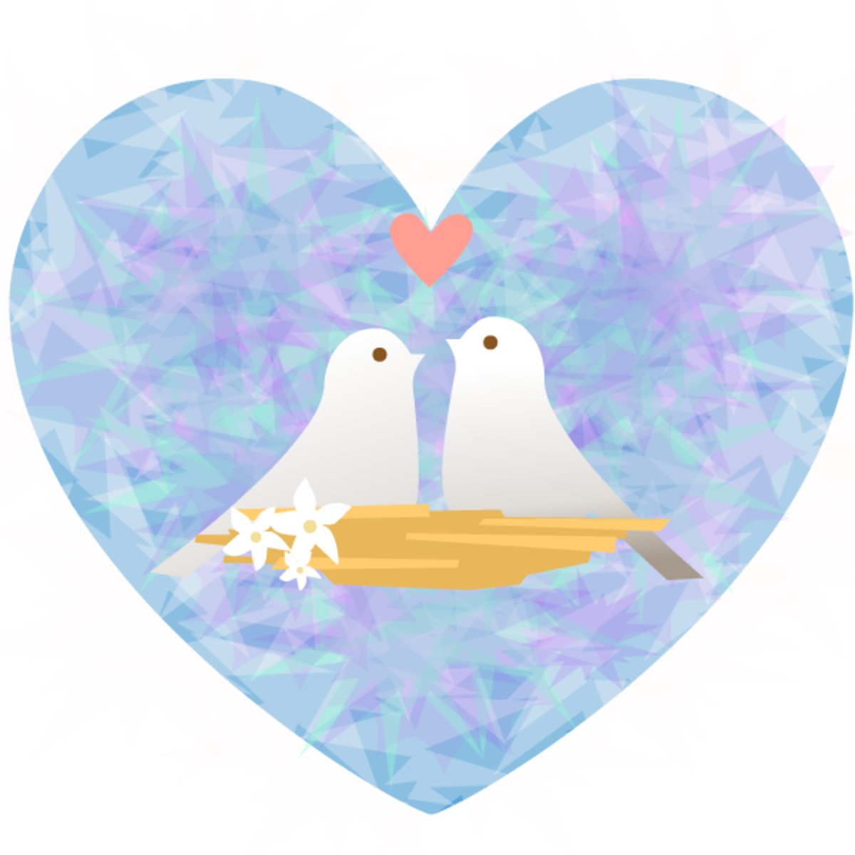 Lovebirds blue patterned heart clipart image