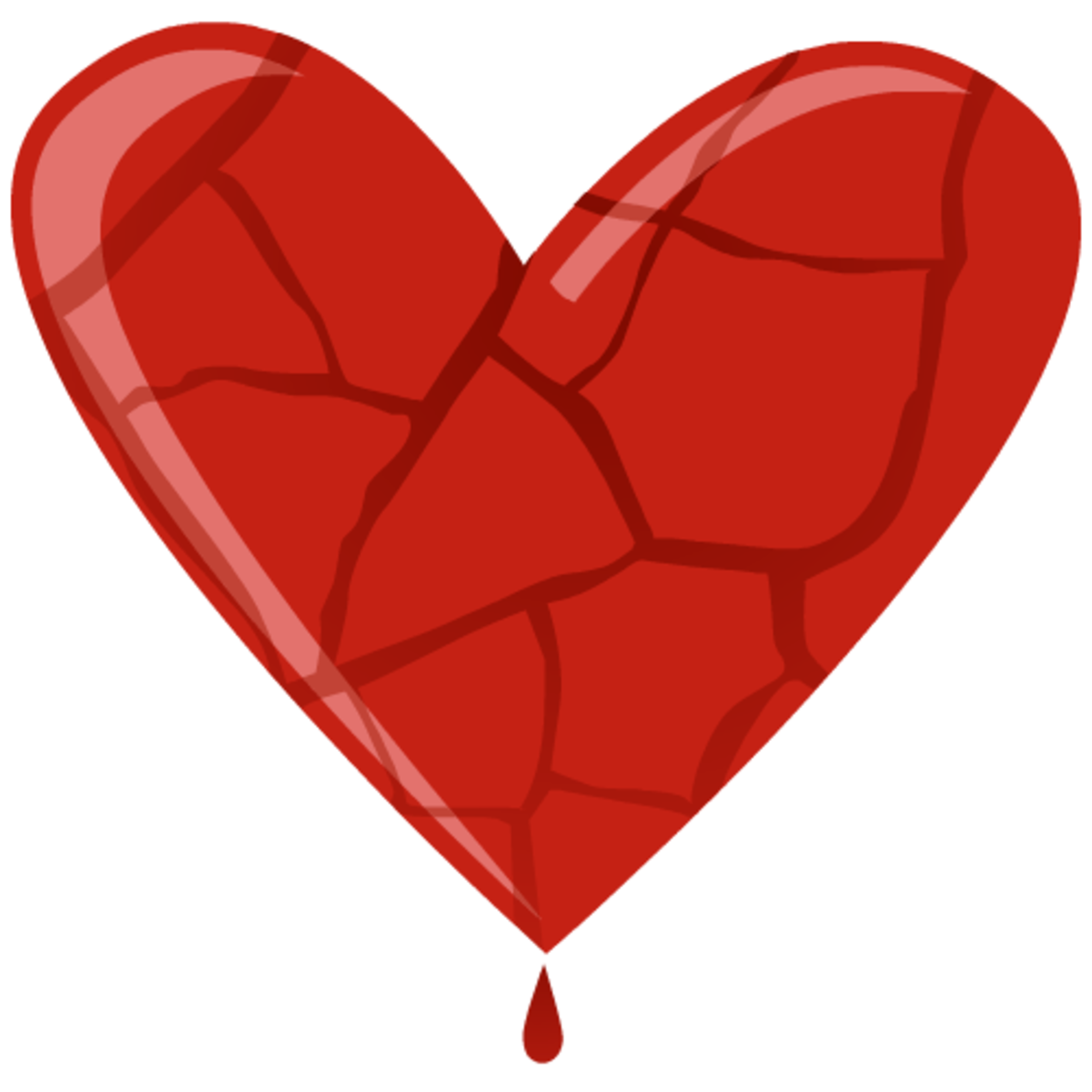 Broken heart dripping blood clip art
