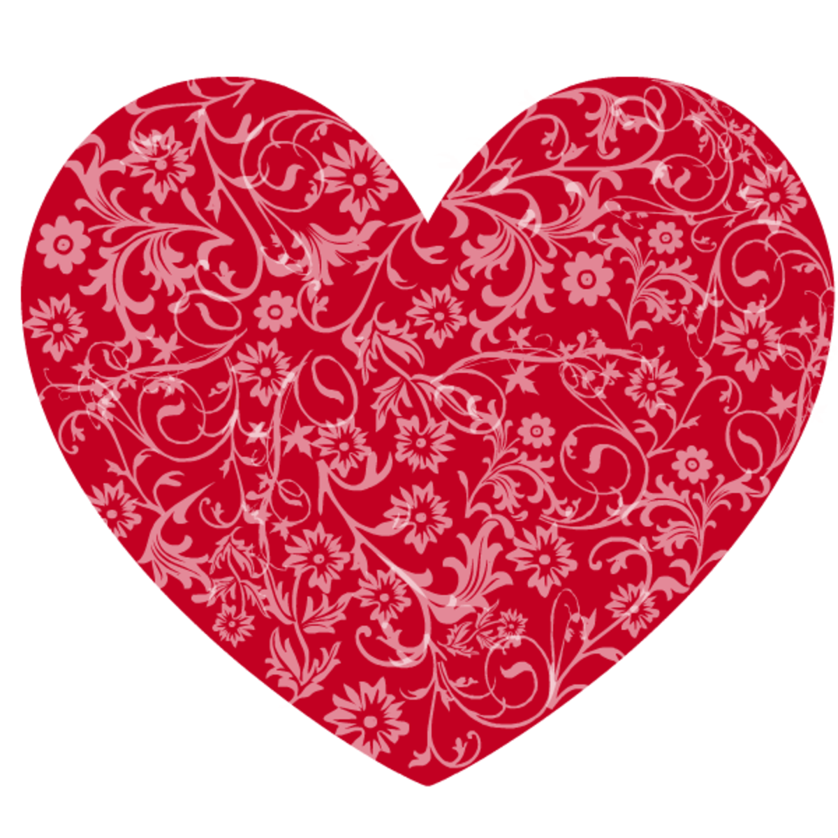 Red floral heart clip art