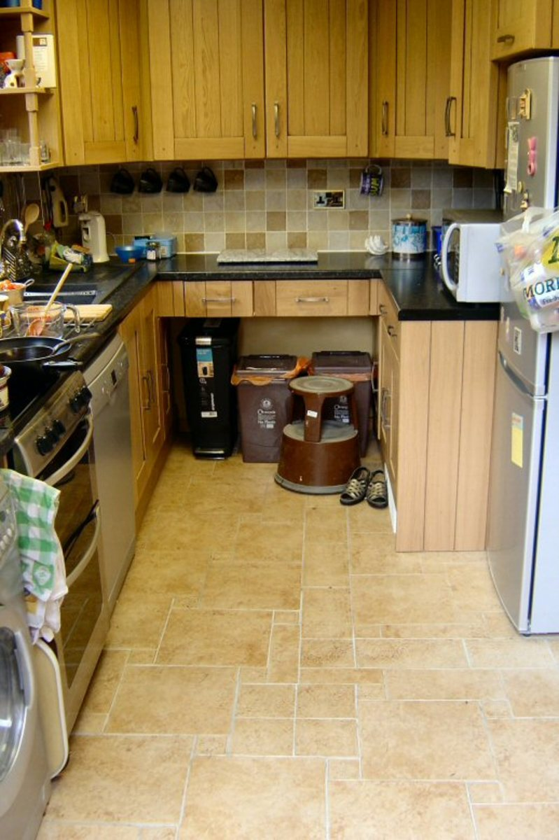 New floor tiles and kitchen units