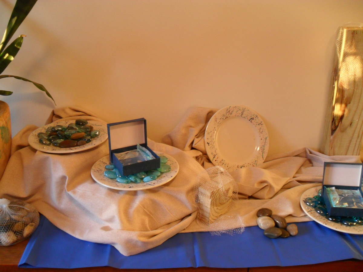 "By purchasing items with a related theme, ""Adrift"", and related color scheme, I put together a display for my home jewelry parties for under $30. Shopping in the bargain bins and second hand stores, I kept my eyes peeled for things that would work in"