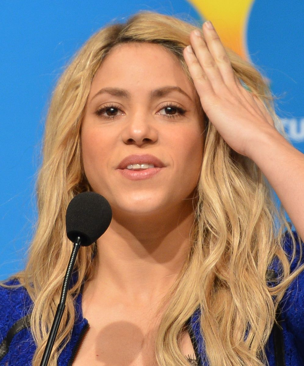 Shakira at a press conference for the 2014 FIFA World Cup