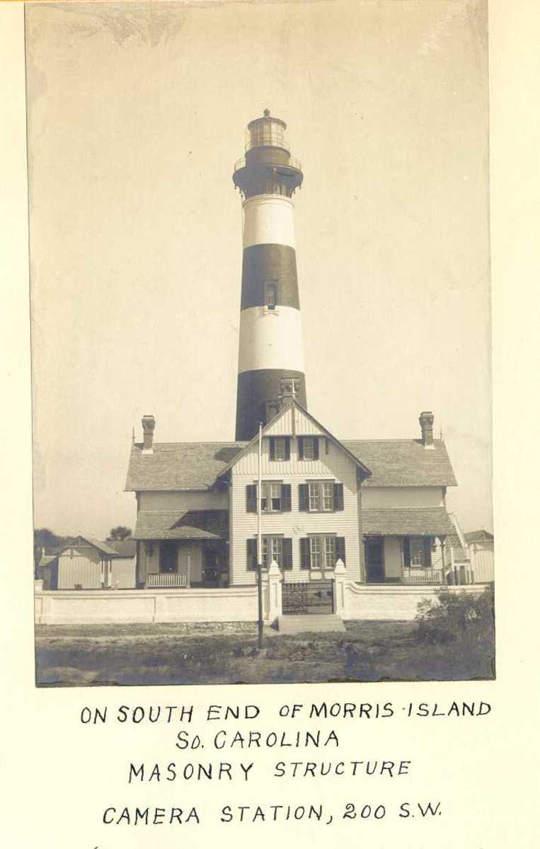 What the Lighthouse looked like in 1914 before erosion. Many families were raised , lived , died and were buried at the Morris Island Lighthouse.