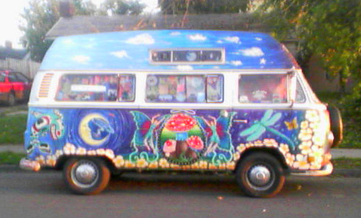 Hippies had cool vehicles, like this van! (The magic bus! ...See the dragonfly on it? COOL!)