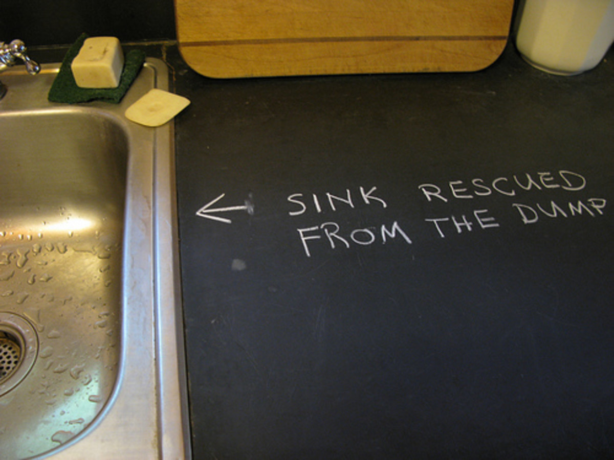 Freegan sink - Shira Golding - Stainless steel sink salvaged from a dumpster.