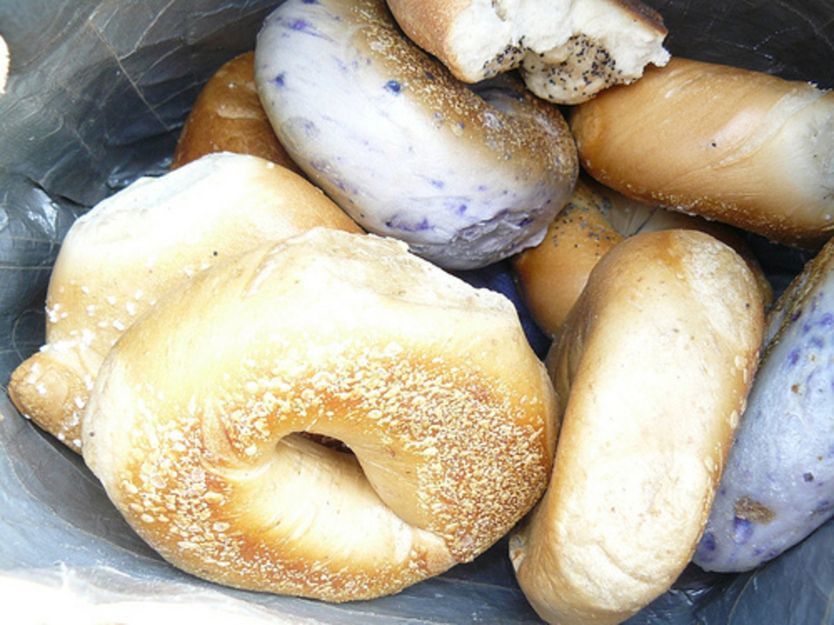 "Freegan bagels - upturned face/flickr - ""I'll have a purple one."""