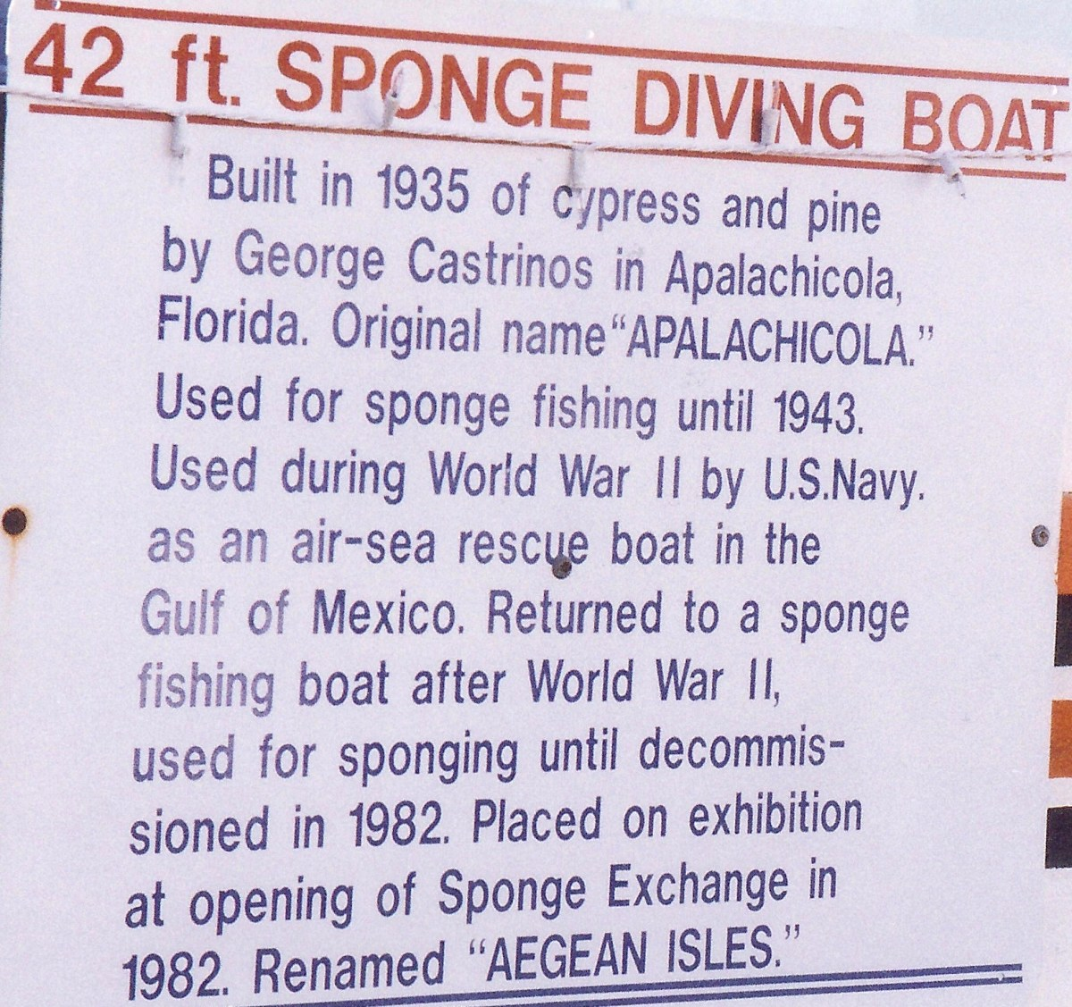 Well known sponge diving boat from that area in Tarpon Springs