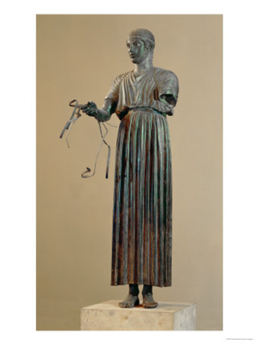 The Charioteer of Delphi, dating from about 470 BC, which is missing one arm.