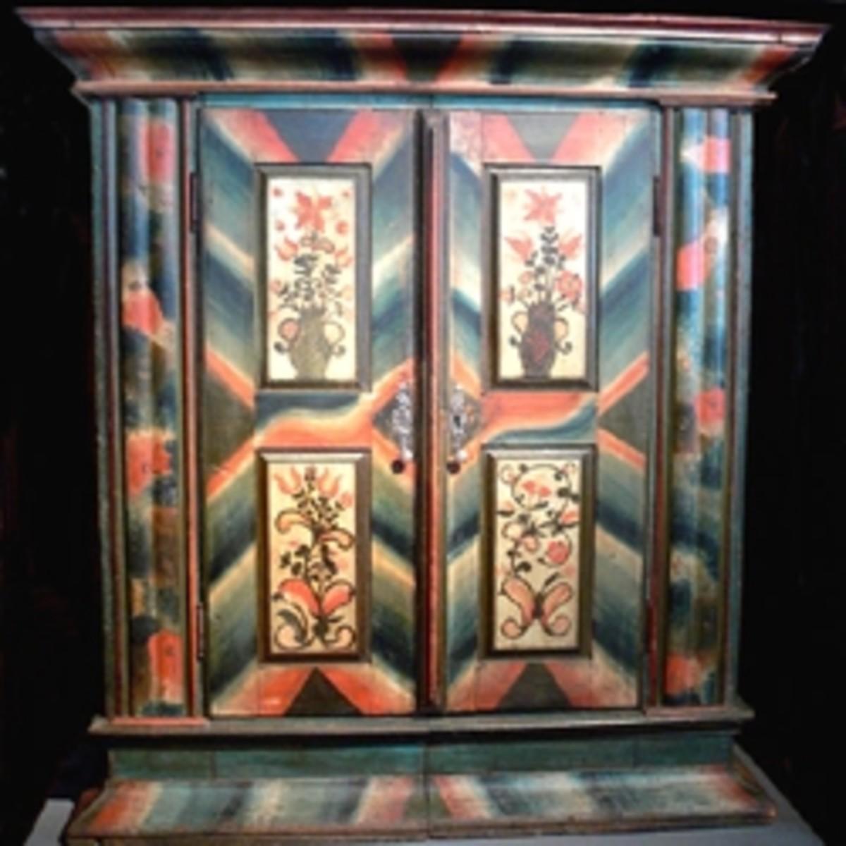 German two door, 18th century painted pine wardrobe