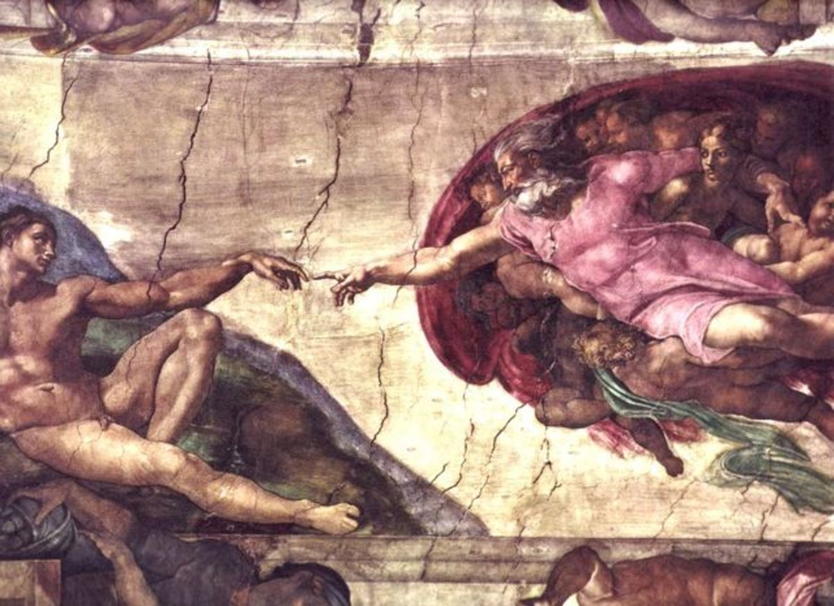 Sistine Chapel ceiling  painted by Michelangelo. Wait, is it Adam - or  the  puppet?