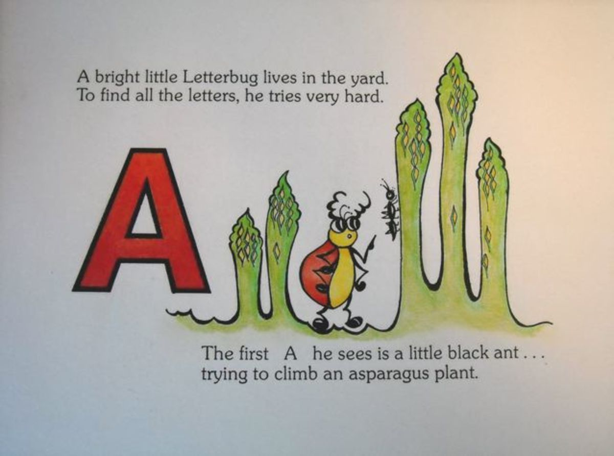 A bright little Letterbug lives in the yard. To find all the letters he tries very hard. The first A he sees is a little black ant, trying to climb an asparagus plant.""