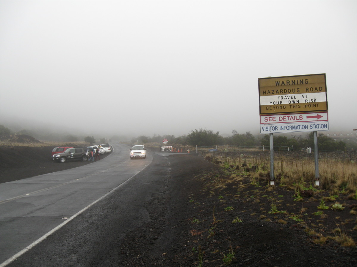 Warning of slippery and possibly icy road (in August) going up summit of Mauna Kea