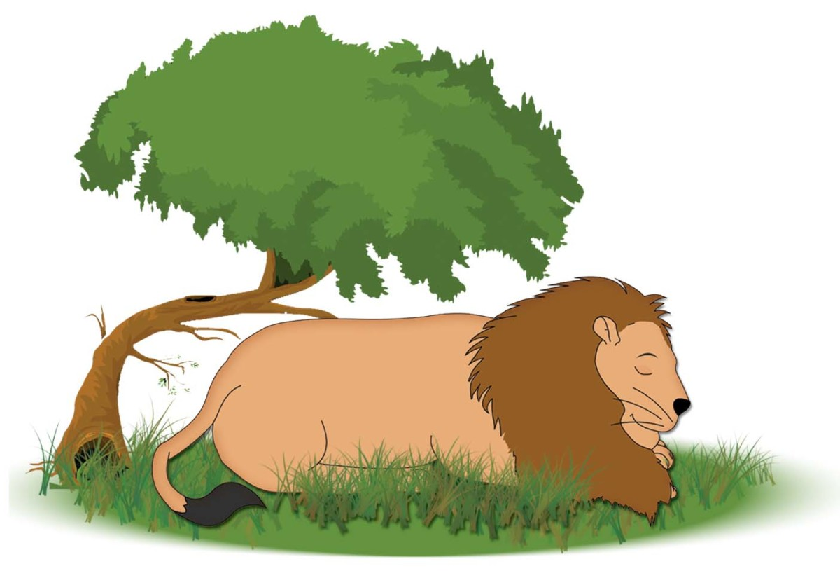 Sheru lLon resting under a tree - the lion and the mouse story