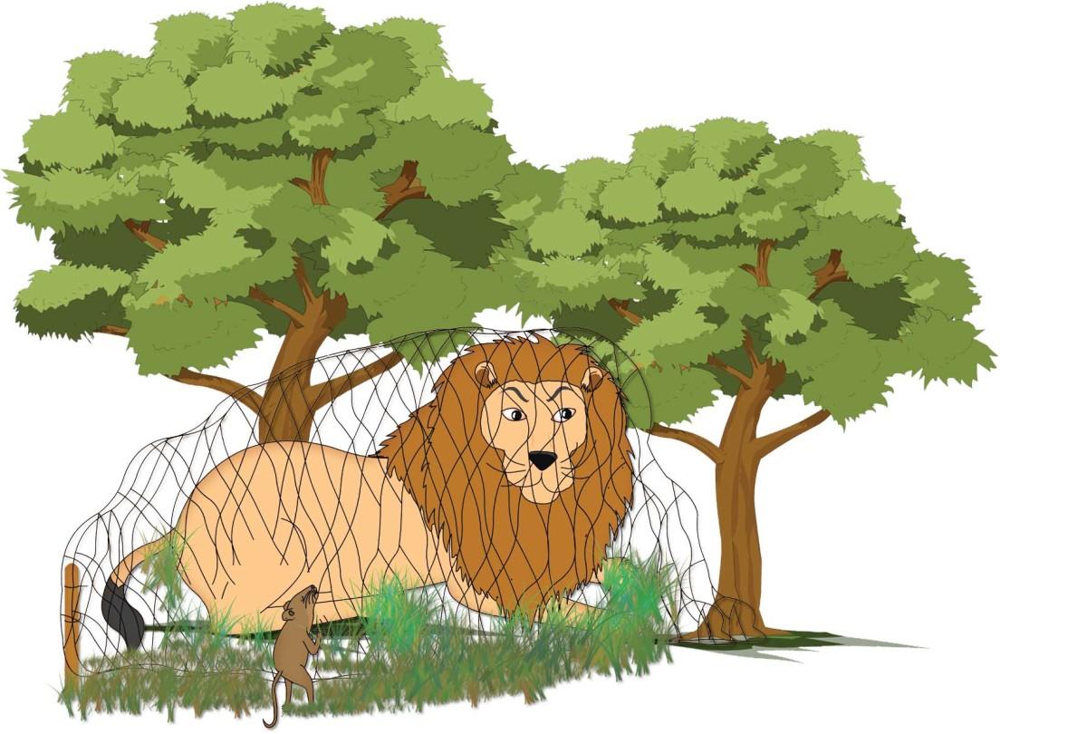 Neetu Mouse helps tear the net to release Sheru Lion
