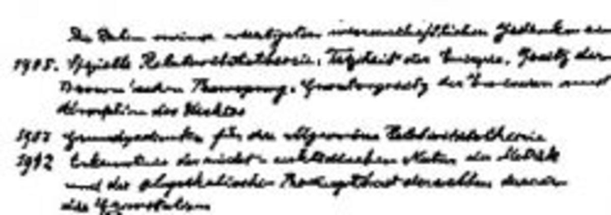 Handwriting Sample of Albert Einstein