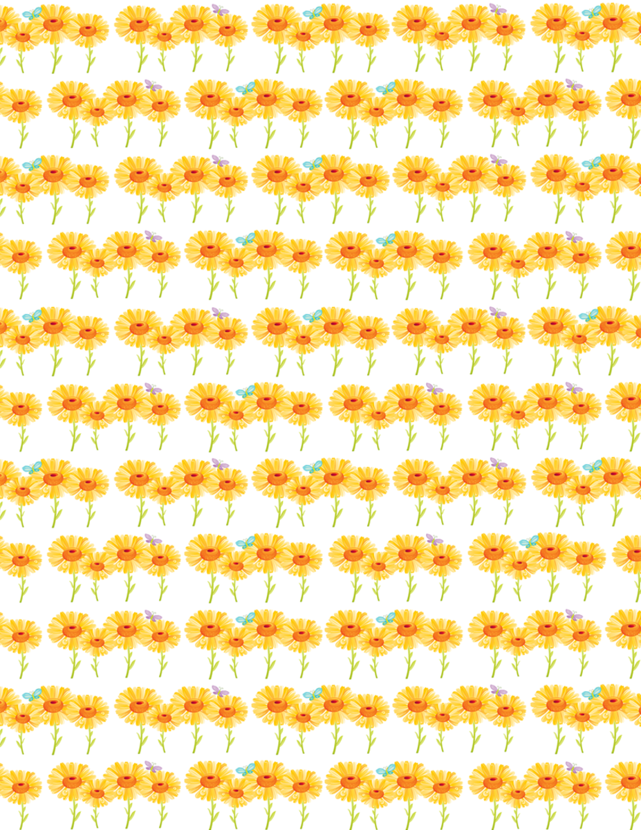 Cheerful sunflowers free scrapbook paper -- rows of small flowers