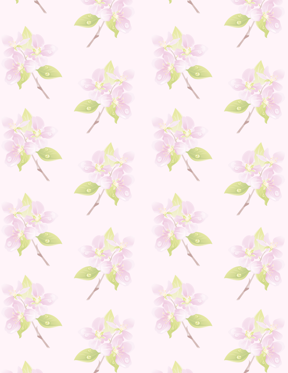 Medium delicate purple flower art scrapbook paper on lavender background