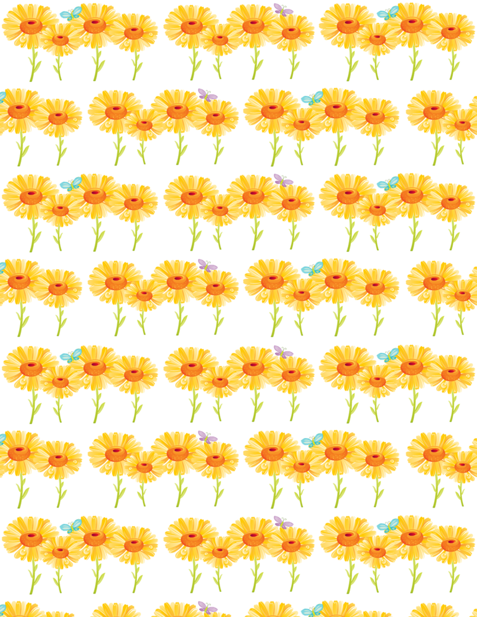 Cheerful sunflowers free scrapbook paper -- rows of flowers