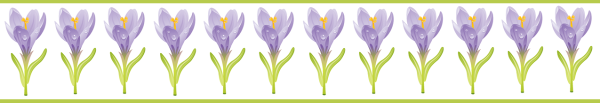 Purple crocus with green stripes scrapbook border