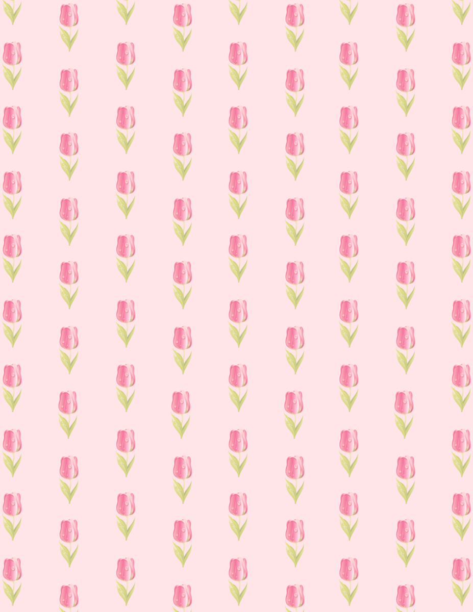 Free flower scrapbook paper: Rows of small pink tulips on pale pink background