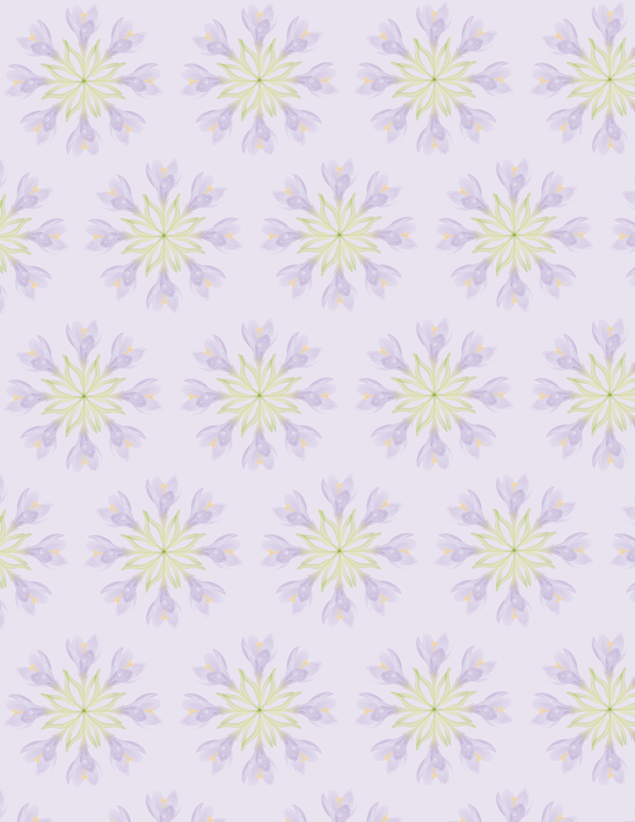 Free flower scrapbook paper: Pale purple crocus images in circles on a lavender background