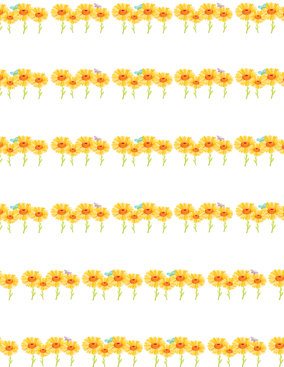 Cheerful sunflowers free scrapbook paper -- small flower rows