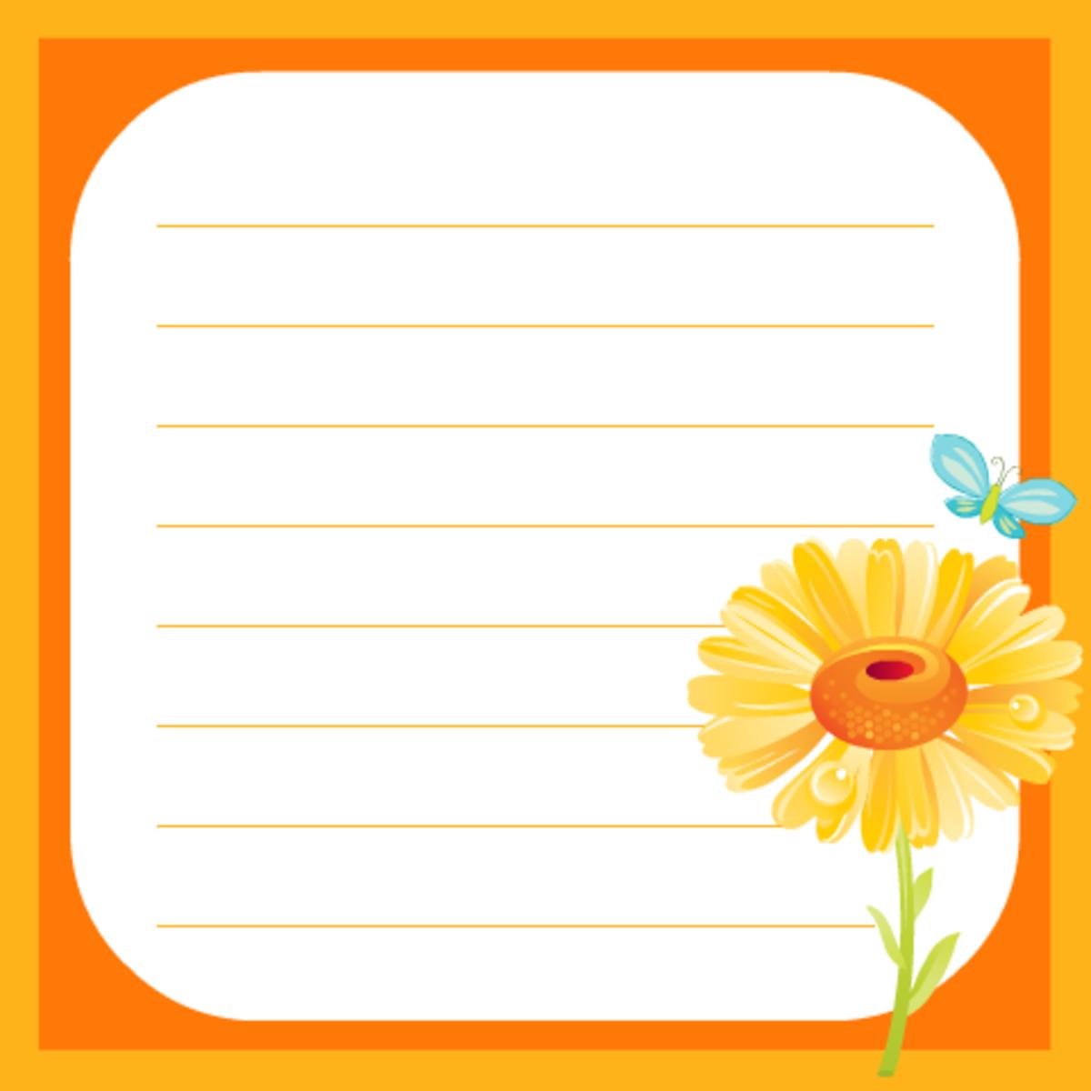 Cheerful sunflower scrapbook journaling card