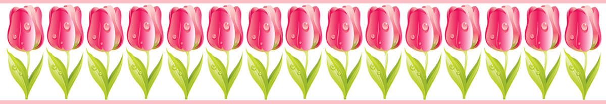 Magenta tulip scrapbook border