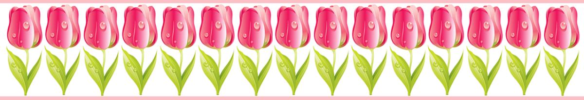Magenta tulip scrapbook border