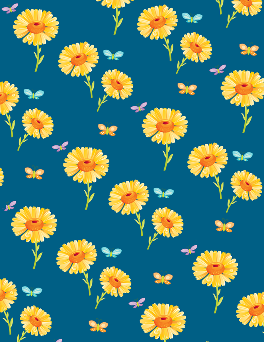 Cheerful sunflowers free scrapbook paper -- blue background with butterflies