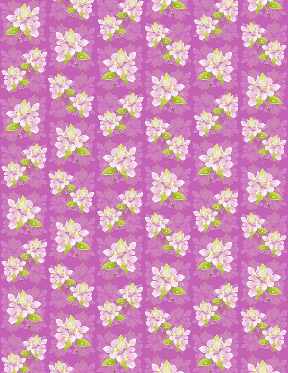 Small delicate purple flower art scrapbook paper on orchid background with shadow images