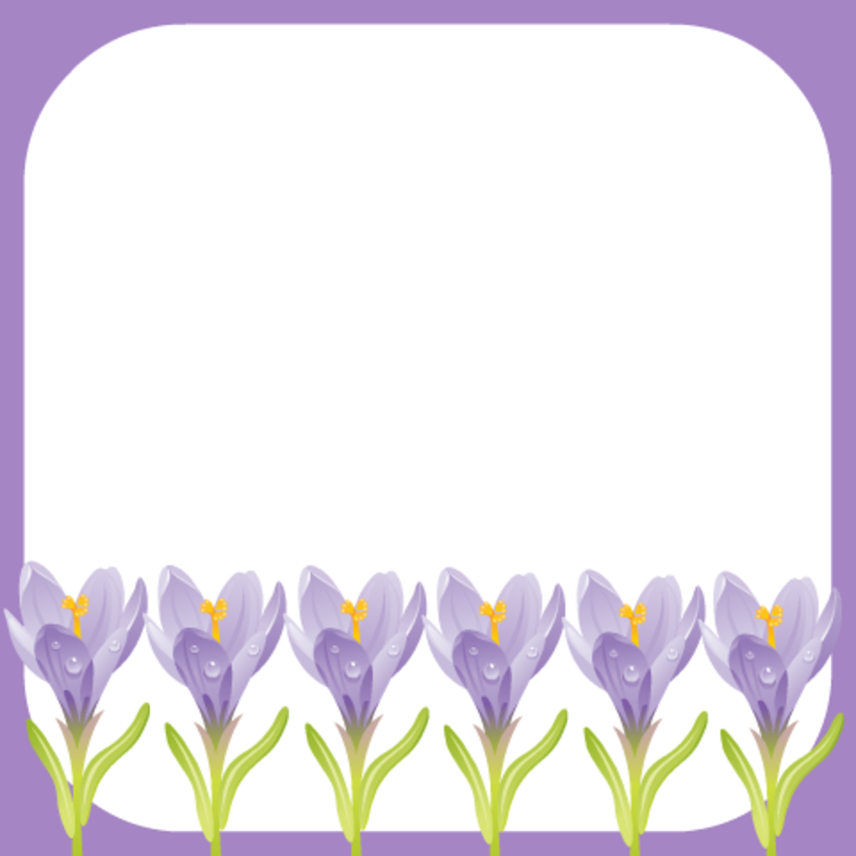 Row of purple crocus scrapbook journaling card on a white background