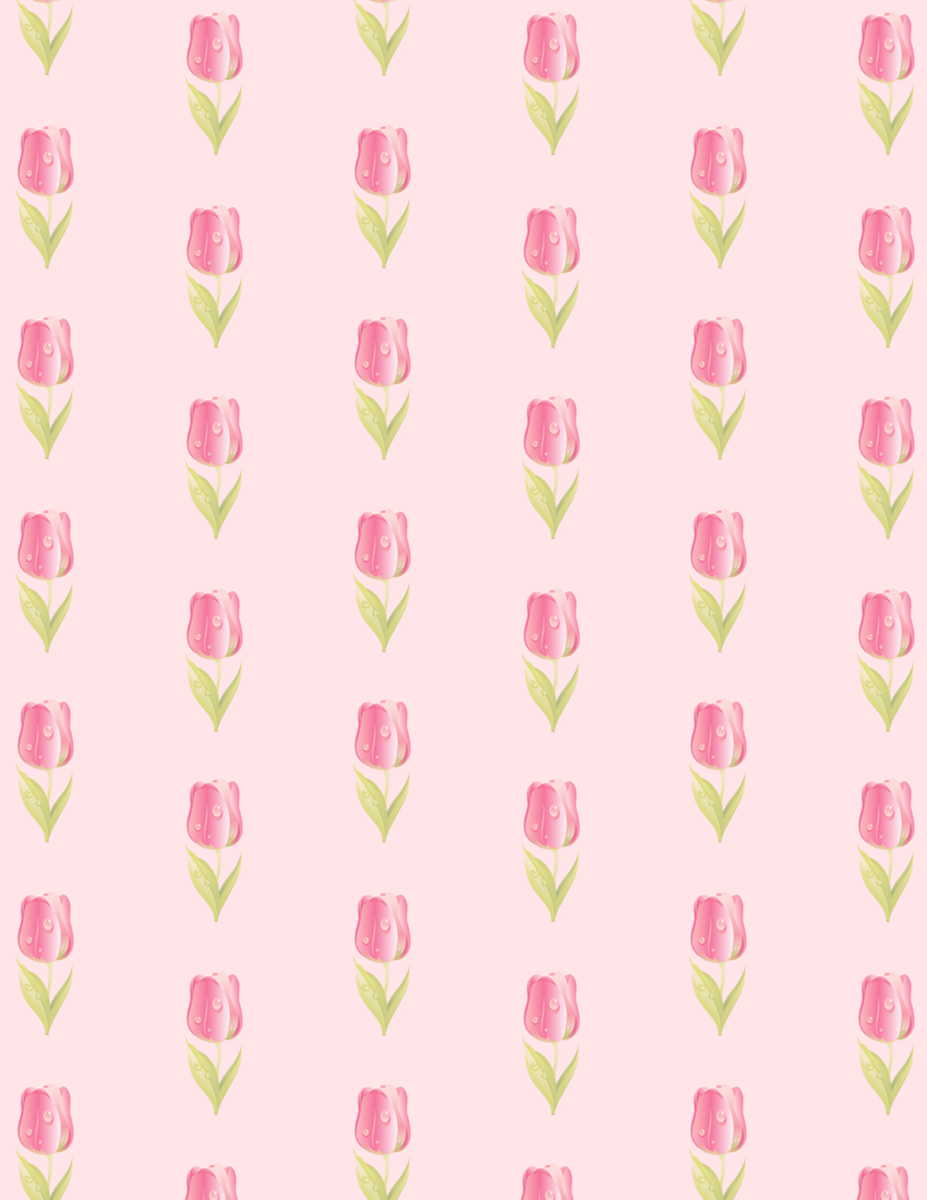Free flower scrapbook paper: Rows of medium pink tulips on pale pink background