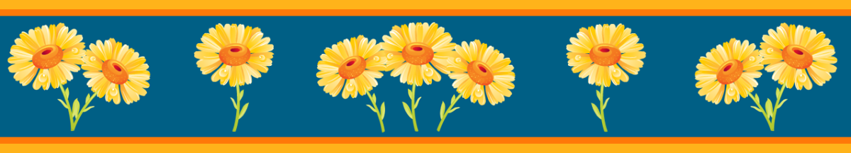 Cheerful sunflower scrapbook border