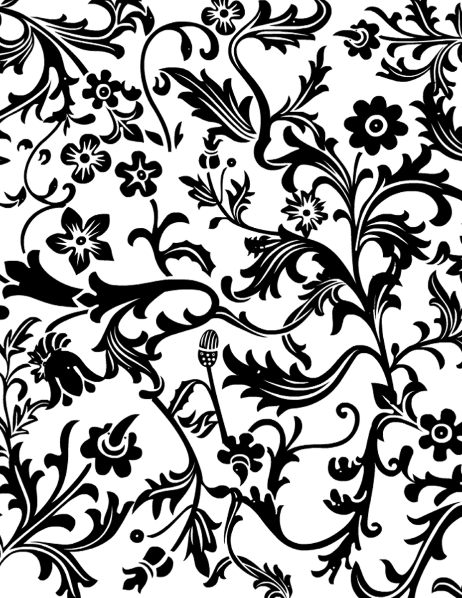 Black and white floral paisley scrapbook paper