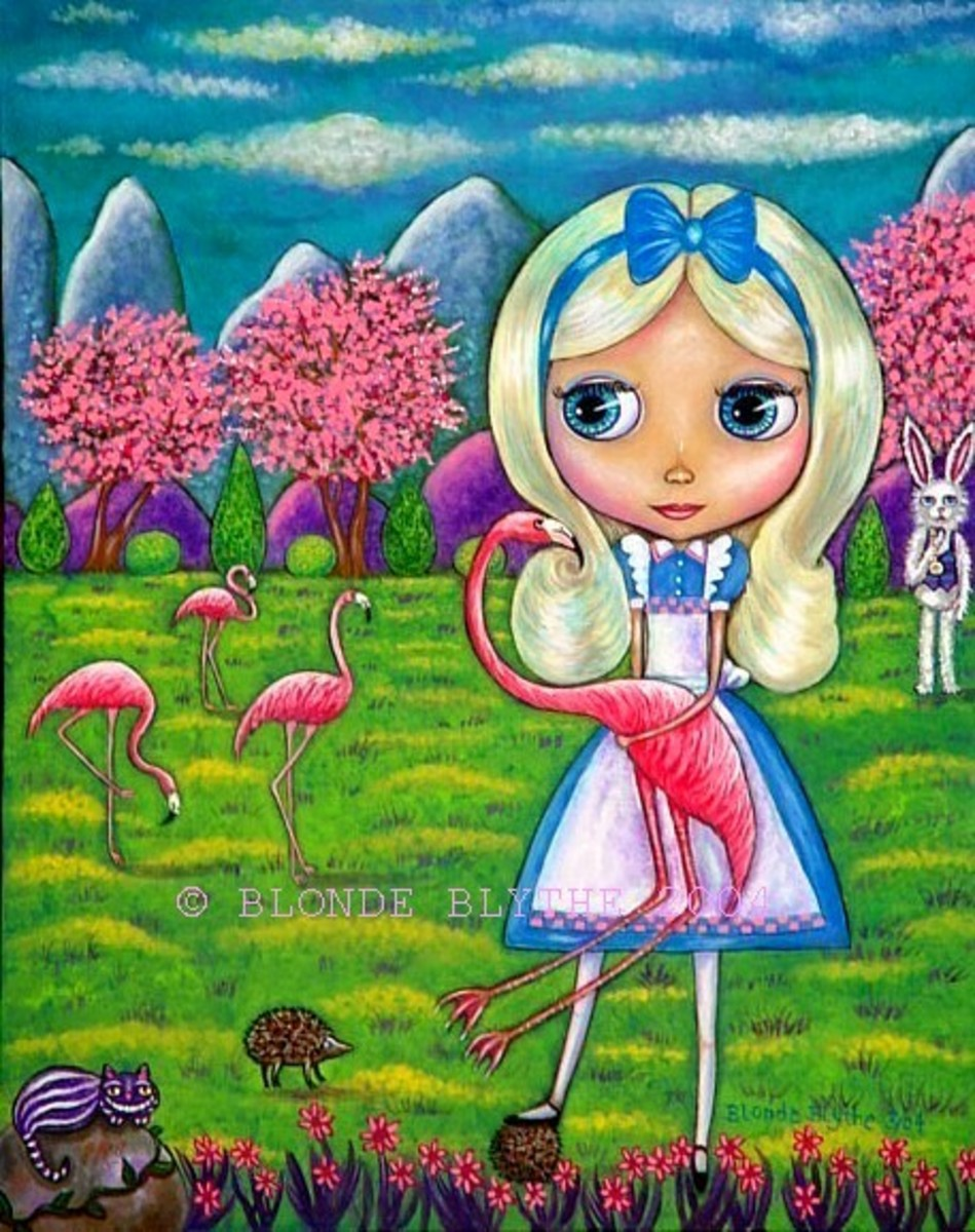 """Alice in Wonderland and the Flamingos"" by Blonde Blythe"