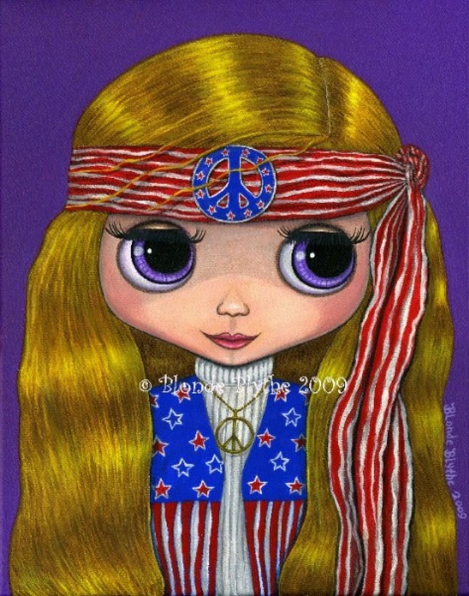 """""""American Hippie Blythe Doll"""" by Blonde Blythe"""